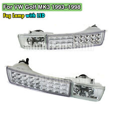 Front Bumper LED Clear Lens Fog Lamp Light For VW Jetta Golf MK3 93-98 W/ Signal