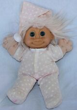 Vintage Russ Berrie Tootsie Troll Plush Stuffed Doll Pink Jammies and Hat 12""