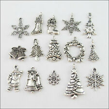 15Pcs Mixed Antiqued Tibetan Silver Tone Christmas Charms Pendants