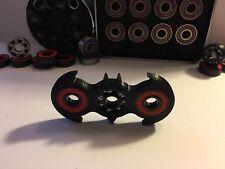 EDC Batman Inspired fidget Spinner BLACK w/red Bearings & 2 finger Caps included