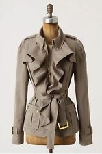 Anthropologie Elevenses Femme Trench Ruffle Front Belted Jacket 4! RARE ($178)
