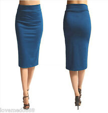 Womens HIGH Waisted Wear to Work Casual SLIM Maxi Midi Skirt Dress BLUE Large