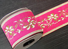 1m 65mm pink gold jacquard embroidered ribbon  applique motif trimming decor