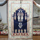 New 2.5'x4' Blue Unique Hand Knotted Persian Carpet Silk Handmade Area Rugs 208B