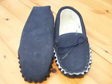 GENTS UK8 Suede Leather Sheepskin Moccasin Slippers SOFT Sole Size EU 42-US 9
