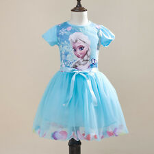 Xmas Pageant Kids Girls Frozen Elsa Anna Princess Party Dress Outwear SZ 3-4