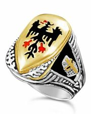German Eagle Teutonic knights shield ring sterling silver