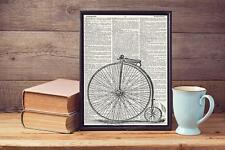 Old Victor Cycle Bicycle Sketch Upcycled Vintage Dictionary Page Art Print A4