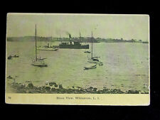 1910 Boats in Harbor Shore View Whitestone NY post card Queens