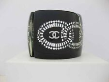 "$1875 Chanel 11P AUTH. Crystal Chain Link CC Logo Resin 2.1"" Cuff Bangle + Box"