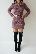 Boutique Pink Lilac Chunky Knit Cable Polaneck Rare Jumper Dress Top 8 10 12 14