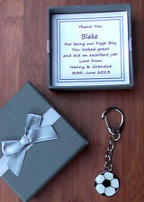 PAGE BOY BEST MAN FOOTBALL KEYRING THANK YOU GIFT IN PERSONALISED GIFT BOX MULTI