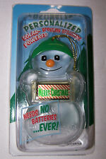 MERRY CHRISTMAS Personalized Solar Powered Snowman Ornament/Gift Tag NEW