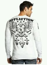 AFFLICTION Abrasive Spirit 2XL XXL A12065 New Men`s White Thermal MSRP $68