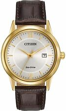 Citizen Eco-Drive Leather Mens Watch AW1232-04A