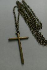 "A Large Cross Bronze Tone Charm Pendant, Long ( 30"" ) Chain Necklace"