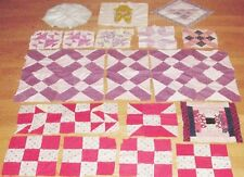 Vintage Quilt Blocks Lot/26 BASKET,OVERALL BOY,STAR,9 PATCH LOG CABIN,PRIMITIVE