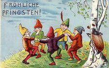 AK Fröhliche Pfingsten tanzende Zwerge Maikäfer gel 1908 Litho
