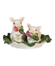 Fitz and Floyd French Market Pigs  Salt & Pepper Shakers  New in Box