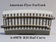LIONEL AMERICAN FLYER S GAUGE FASTRACK R20 HALF CURVE AF 2 rail train 6-49878