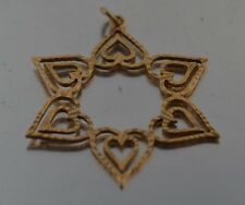 CW21          14K RED  GOLD   STAR OF DAVID  CHARM PENDANT DOUBLE SIDED.