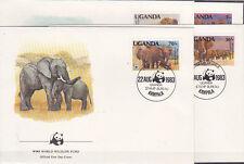 v1941 Uganda/ WWF 1983 Elefanten  MiNr 361/64 C auf 4 FDC