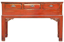 Chinese Distressed Red 3 Drawers Side Pedestal Console Table cs2033