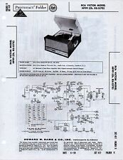 1959 RCA VICTOR HF99 RECORD PLAYER CHANGER SERVICE MANUAL PHOTOFACT SCHEMATIC