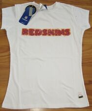 WASHINGTON REDSKINS WOMENS CAP SLEEVE FITTED T SHIRT LARGE L LRG NFL WHITE TOP