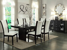 CARRE - 7pcs Modern Borwn Rectangular Dining Room Table & Chairs Set Furniture