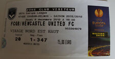 Ticket for collectors EL Girondins Bordeaux - Newcastle United 12 France England