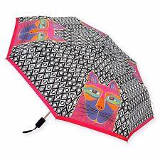 Laurel Burch Wiskered Cats Black Wh Brights Compact Umbrella Auto Open Close New
