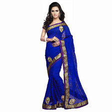 Party Wear Designer Royal Blue Net Brasso Emboidered Patch Saree With Blouse