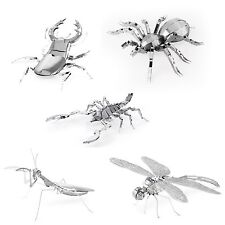 Set of 5 Metal Earth Kit Scorpion Stag Beetle Tarantula Praying Mantis Dragonfly