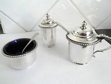 VINTAGE SILVER PLATED PEPPER MUSTARD & SALT POT CRUET  GOLDSMITHS & SILVERSMITHS
