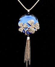 Fashion Gold-plated crystal mosaic Circular lens Pendant Long necklace  GG117
