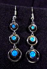 "Sterling 925 Silver SF Hook Earrings Blue Lab Fire Opal DOUBLE CIRCLES - 2"" Drop"