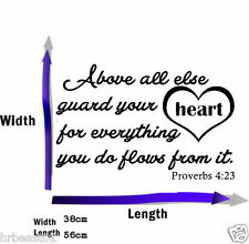 Proverbs 4:23 Bible Verse vinyl wall Stickers decal quote Inspiration Art Decor