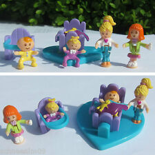Mini Polly Pocket Baby Friends Playset 100% Komplett Wippe Hochstuhl 4 Figuren