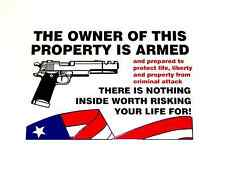 """10X """"THE OWNER OF THIS PROPERTY IS ARMED"""" DECALS STICKERS GUN SECURITY WARNING"""