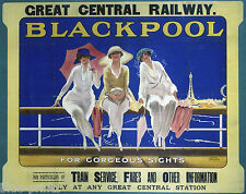 old blackpool uk TRAVEL RAILWAY POSTER PRINT ART PAINTING large