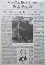 DR CANBY THOREAU WALDEN POND - ROWSE RUZICKA 1939 October 8 NY Times Book Review