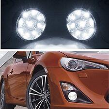 1 Pair White 12V 9LED Round Daytime Running Lights DRL Car Fog Day Driving Lamps