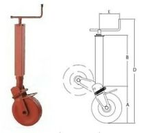 Simol Stützrad 1400 kg. vierkant - halbautomatische Klappung mit Feder