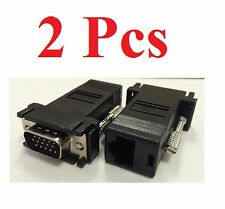 2 Black VGA Extender Adapter To CAT5/CAT6/RJ45 Cable