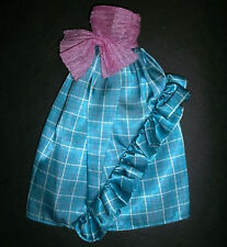 Vintage Barbie doll clothes: Blue check & ribbed lilac long dress gown 1980s/90s