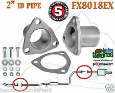 "2"" ID Universal QuickFix Exhaust Triangle Flange Repair Pipe Kit Gasket FX8018EX"
