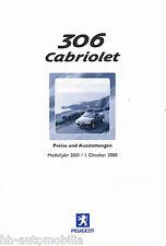 Peugeot 306 Cabriolet Preisliste 1.10.00 price list 2000 Auto PKWs Frankreich