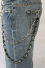 Men Silver Metal Wallet Chain Key Chain Biker Jeans Trucker Black Skulls Faces