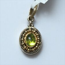 New KONSTANTINO Green Peridot and Two Tone 18K & Silver Small Oval Pendant $410